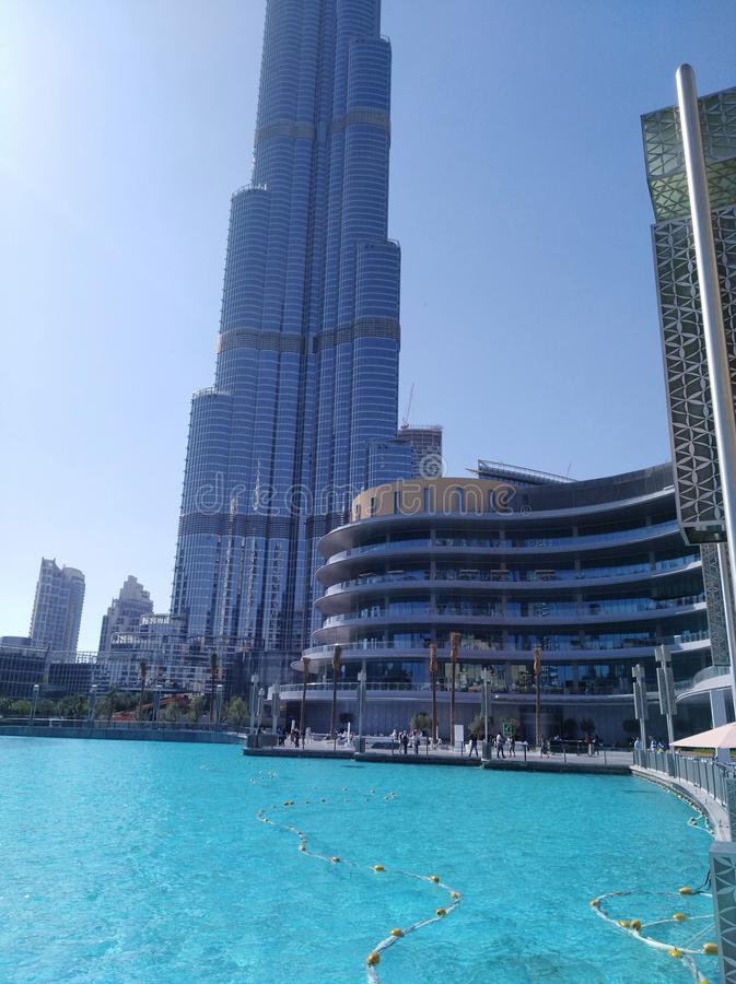 Outside Burj Khalifa. Outside view of the tallest building in the world royalty free stock photos