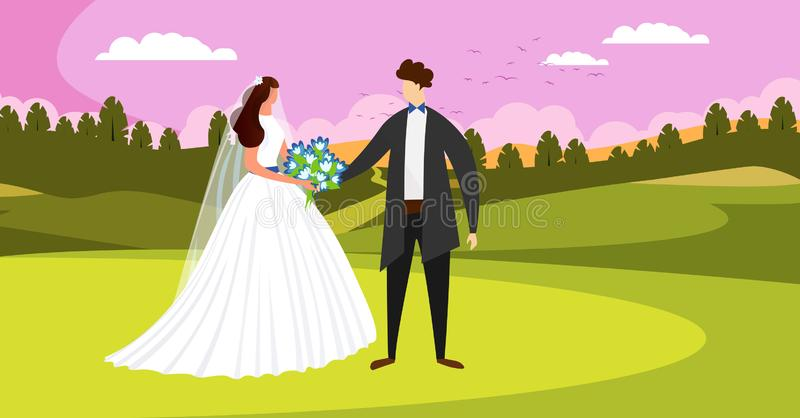 Outside Wedding Day Ceremony. Happy Bridal Couple. Outside Wedding Ceremony. Happy Bridal Couple Standing on Beautiful Field Landscape with Sunset Pink Sky. Man royalty free illustration