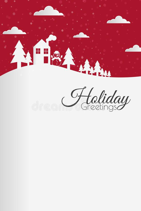 Outside winter christmas card. In red and white colors royalty free illustration
