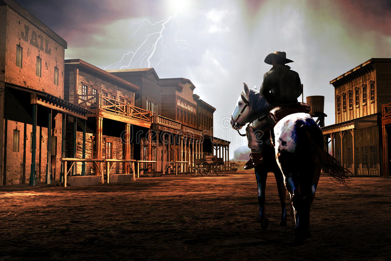 The outsider. A cowboy arrives to a town at the time of a storm and lightnings in the sky