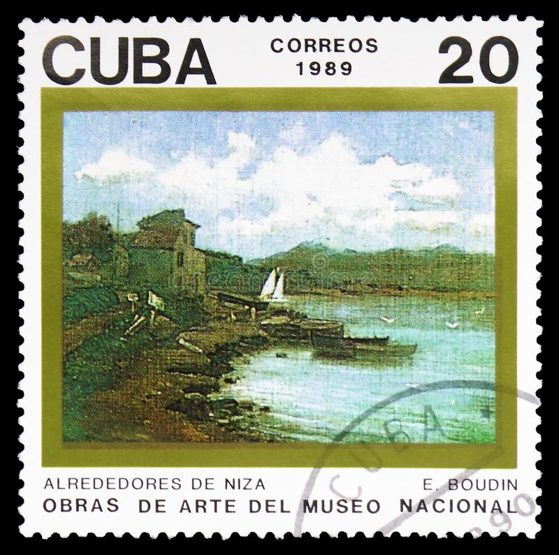 Outskirt of Nice, Paintings in the National Museum serie, circa 1989. MOSCOW, RUSSIA - FEBRUARY 10, 2019: A stamp printed in Cuba shows Outskirt of Nice royalty free stock images