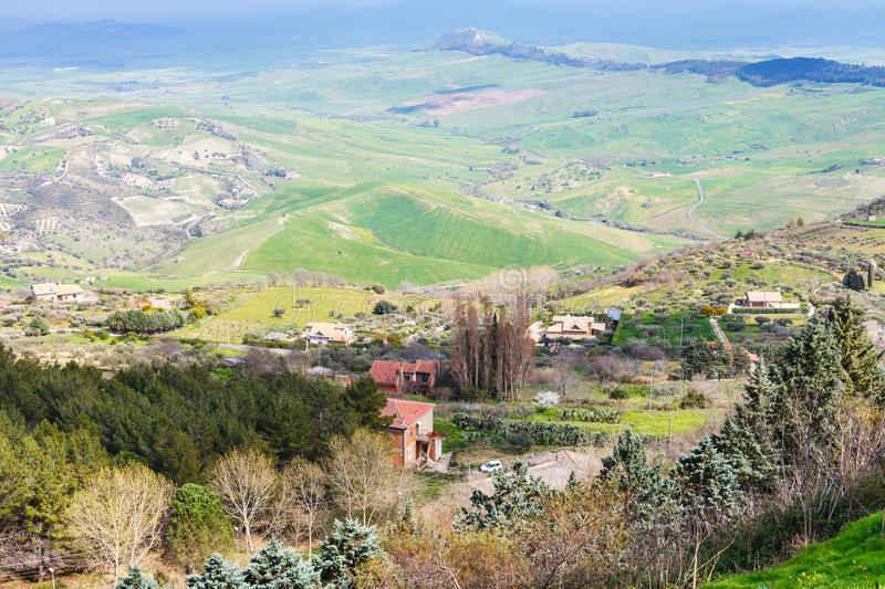 Outskirts of Aidone town in green sicilian hills. In spring, Italy royalty free stock images