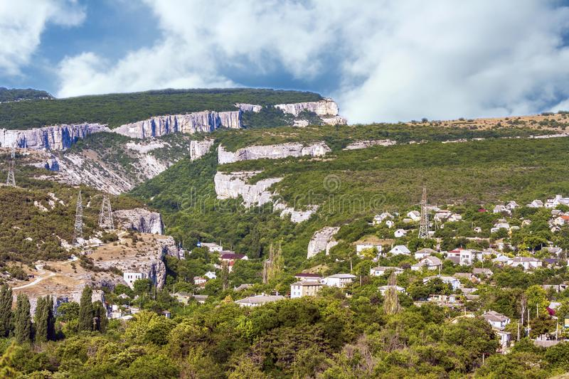 The outskirts of the ancient city of Bakhchisarai runs along the bottom of a deep ravine and plateau. The ancient city of Bakhchisarai on the Crimean Peninsula royalty free stock images