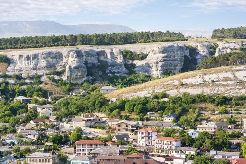 The outskirts of the ancient city of Bakhchisarai runs along the bottom of a deep ravine and plateau. The ancient city of Bakhchisarai on the Crimean Peninsula stock photos