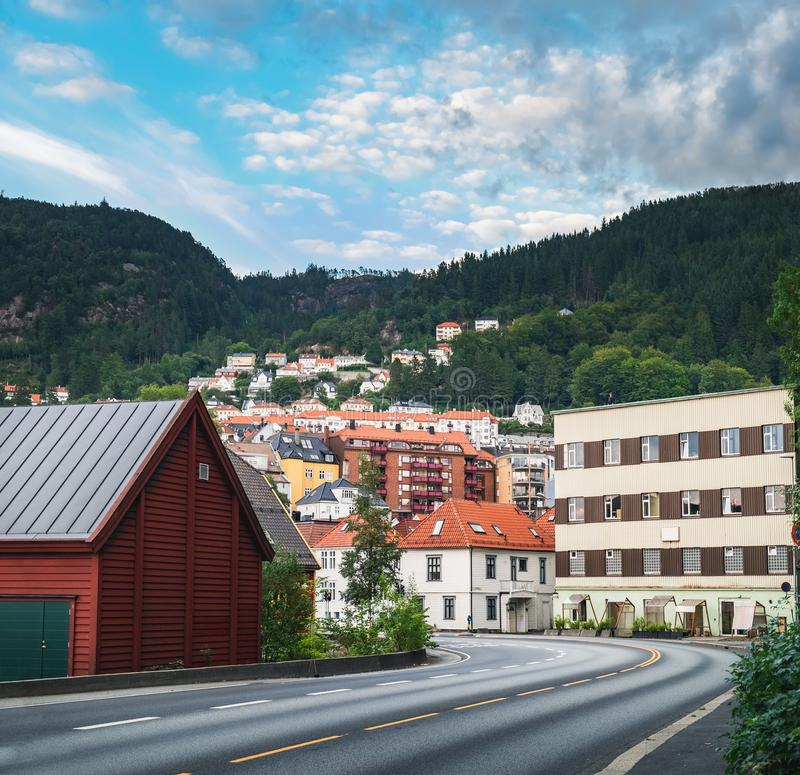 Outskirts of Bergen, Norway. Scenic summer view of the outskirts of Bergen in Norway royalty free stock photo