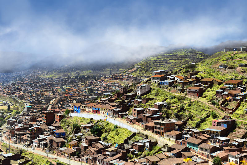 Outskirts of Cusco. Poor neighborhood on the outskirts of Cusco. At an altitude of 3500 meters stock photo