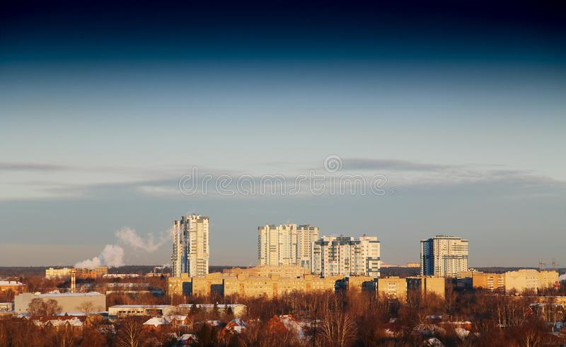 Outskirts of Moscow background. Hd horizontal orientation vivid vibrant color bright spacedrone808 rich composition design concept element object shape backdrop royalty free stock images