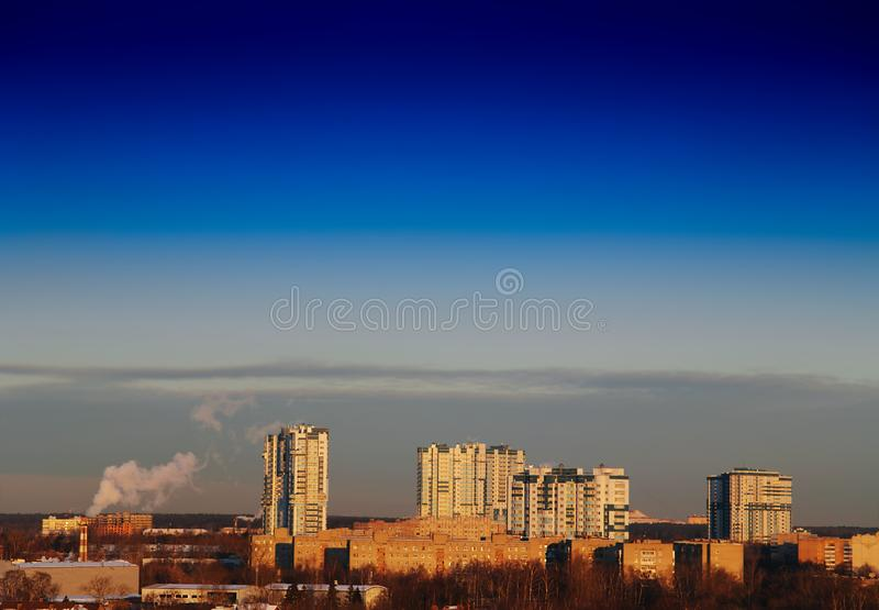 Outskirts of Moscow background. Hd horizontal orientation vivid vibrant color bright spacedrone808 rich composition design concept element object shape backdrop royalty free stock photography