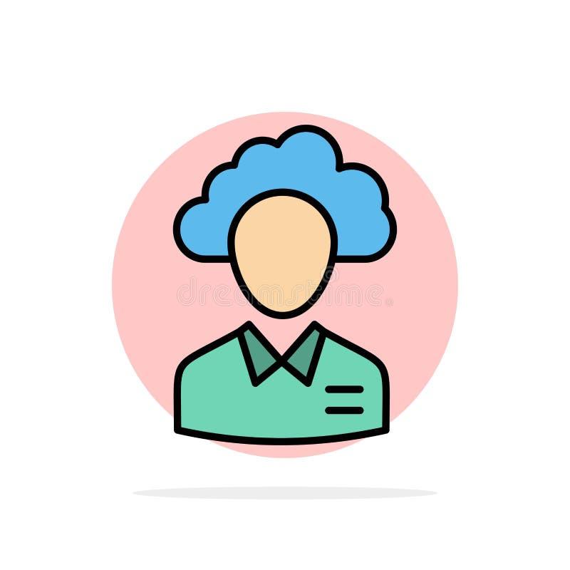 Outsource, облако, человек, управление, менеджер, люди, значок цвета предпосылки круга конспекта ресурса плоский бесплатная иллюстрация