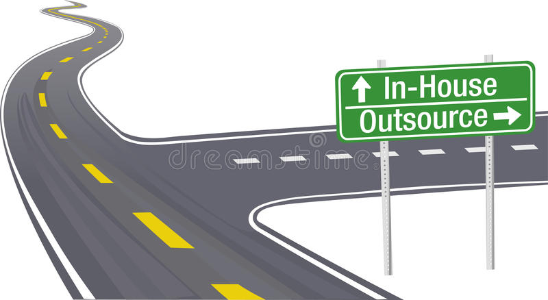 Outsource InHouse business supply chain decision. Highway sign as symbol of Outsource InHouse business supply chain decision stock illustration
