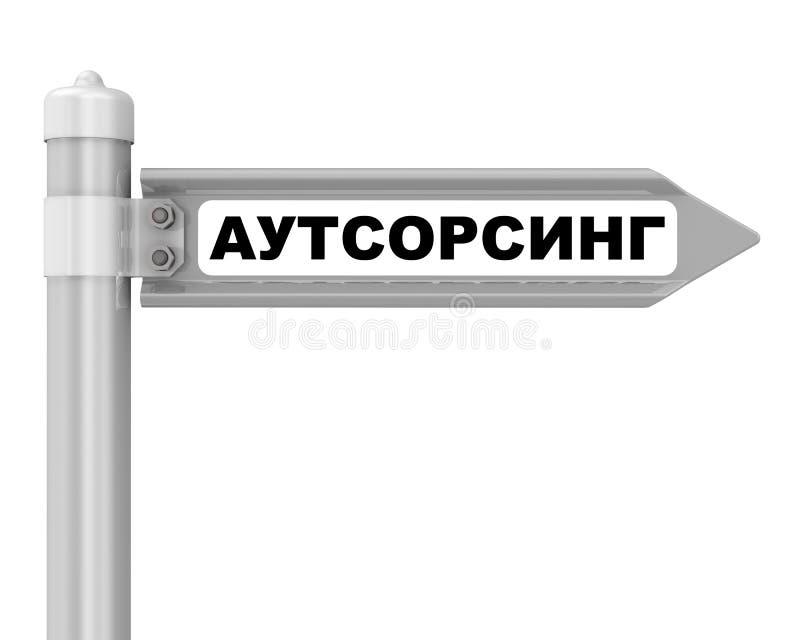 outsource Kierunkowskazu Przekładowy tekst: «ZLECAĆ NA ZEWNĄTRZ « ilustracja wektor