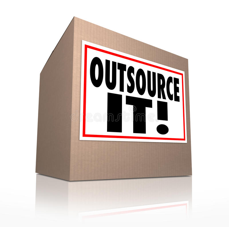 Outsource It Words Cardboard Box Shipping Jobs Labor Workforce royalty free illustration