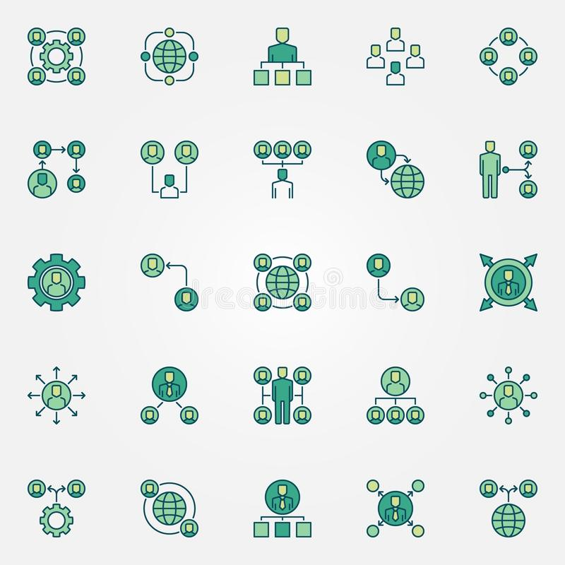 Outsourcing colored icons set - vector outsource signs vector illustration