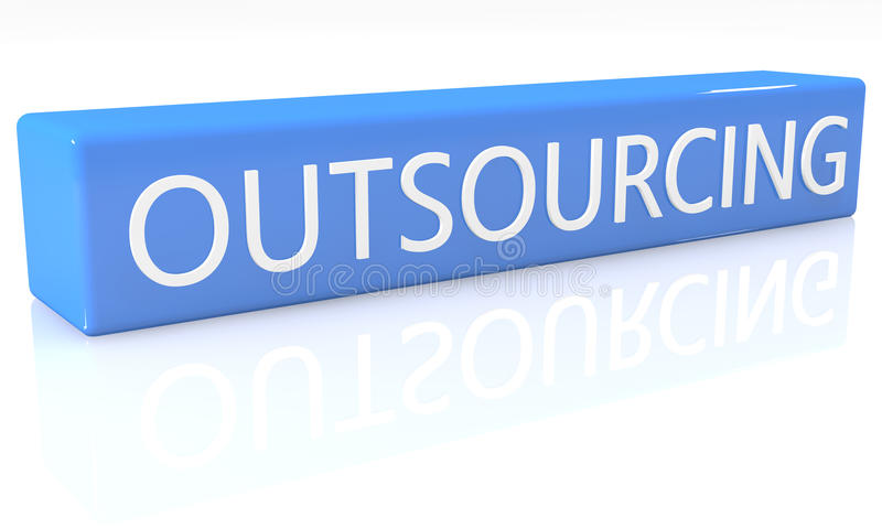 Outsourcing. 3d render blue box with text Outsourcing on it on white background with reflection vector illustration