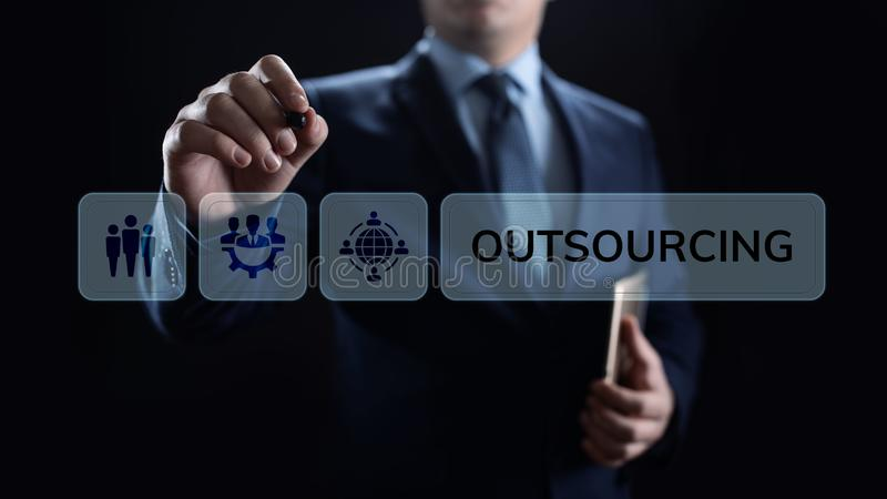 Outsourcing Global Recruitment Business and internet concept. stock photos