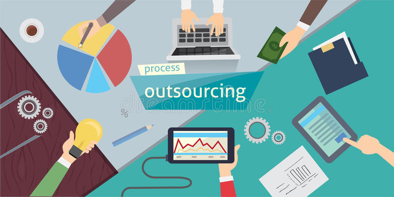 Outsourcing Hiring Outsource. Outsourcing digital design, vector illustration eps 10. overhead. stock images