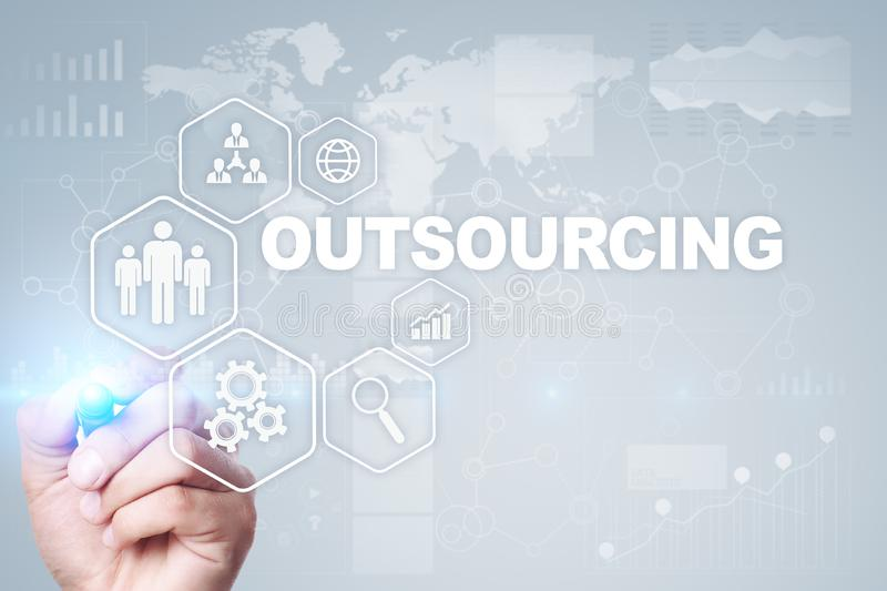 Outsourcing, hr and recruitment business strategy concept. Internet and modern technology. Outsourcing, hr and recruitment business strategy concept. Internet stock photo
