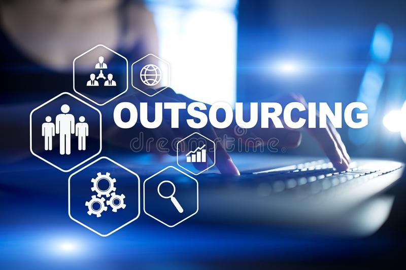 Outsourcing, hr and recruitment business strategy concept. Internet and modern technology. Outsourcing, hr and recruitment business strategy concept. Internet royalty free stock image