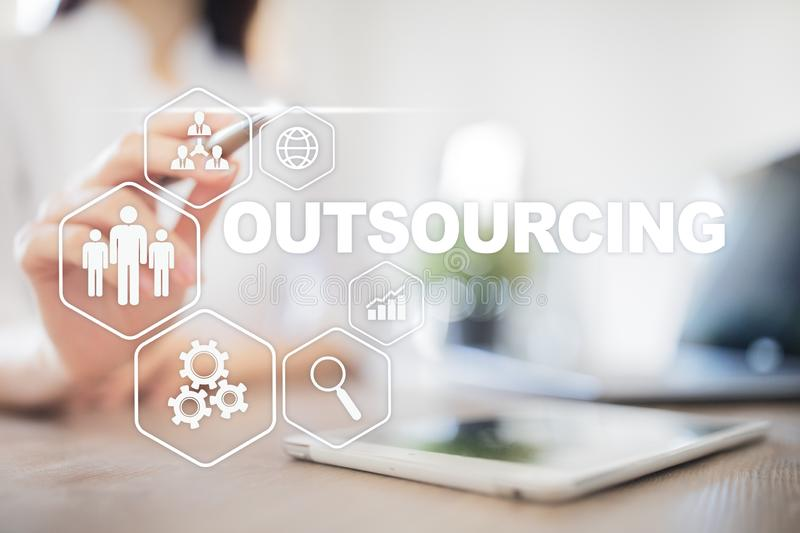 Outsourcing, hr and recruitment business strategy concept. Internet and modern technology. Outsourcing, hr and recruitment business strategy concept. Internet royalty free stock photo