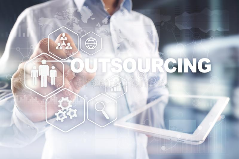 Outsourcing, hr and recruitment business strategy concept. Internet and modern technology. Outsourcing, hr and recruitment business strategy concept. Internet royalty free stock photography