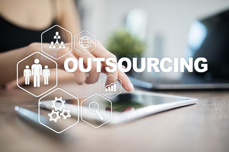 Outsourcing, hr and recruitment business strategy concept. Internet and modern technology. Outsourcing, hr and recruitment business strategy concept. Internet royalty free stock photos