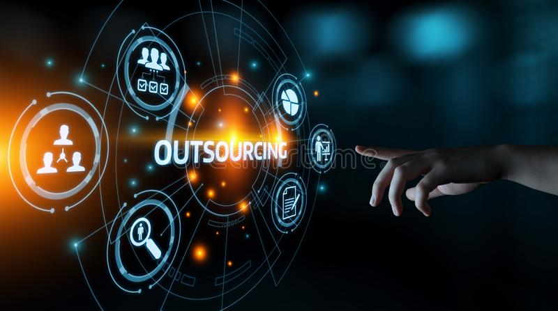 Outsourcing Human Resources Business Internet Technology Concept.  royalty free stock image