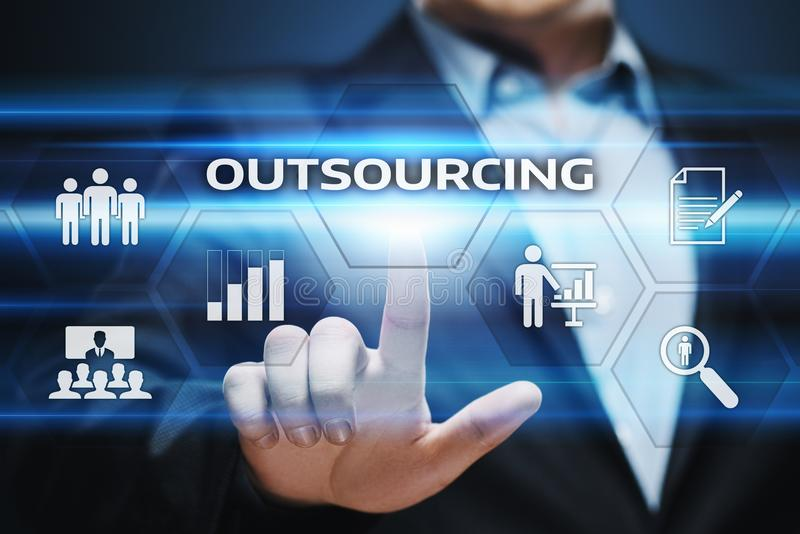 Outsourcing Human Resources Business Internet Technology Concept.  royalty free stock images