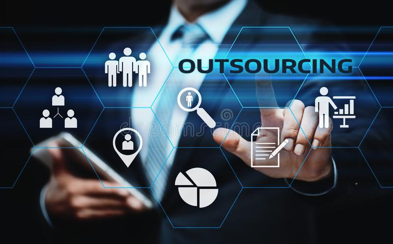 Outsourcing Human Resources Business Internet Technology Concept.  stock photos