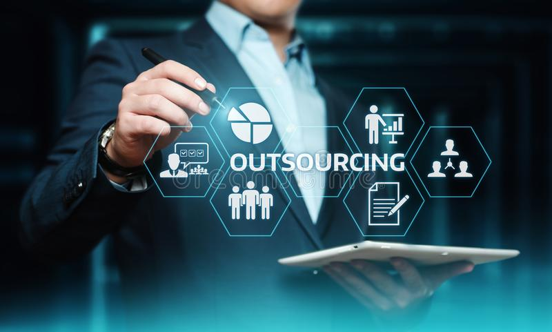 Outsourcing Human Resources Business Internet Technology Concept.  royalty free stock photo