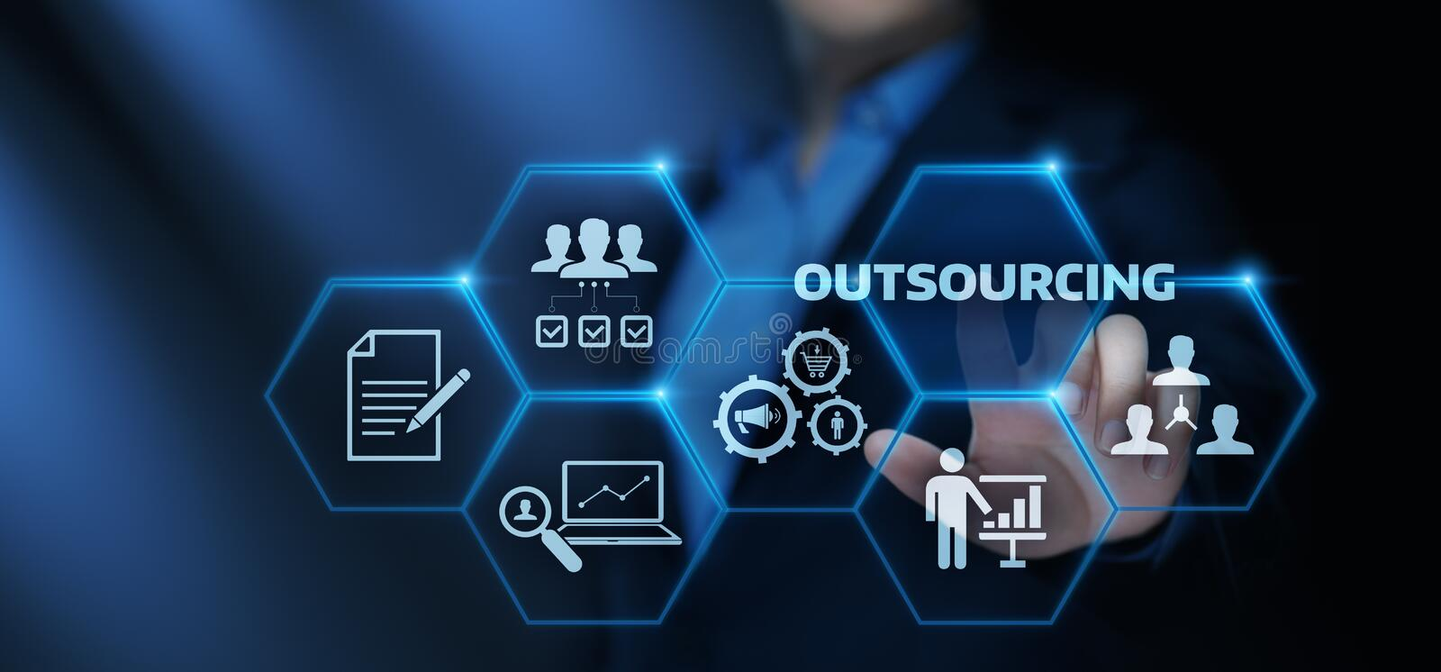Outsourcing Human Resources Business Internet Technology Concept.  stock photo