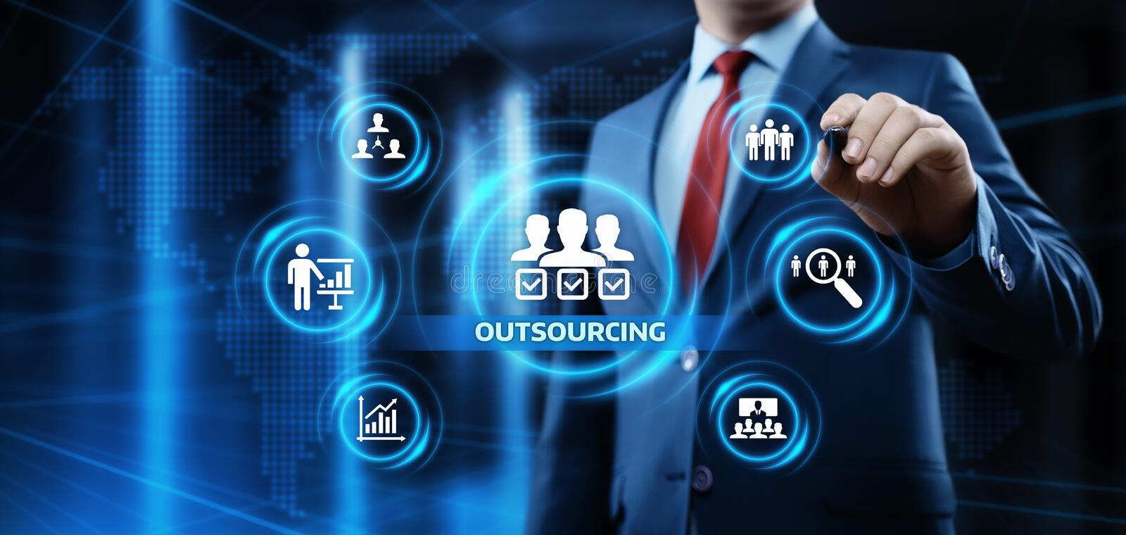 Outsourcing Human Resources Business Internet Technology Concept.  royalty free stock photography