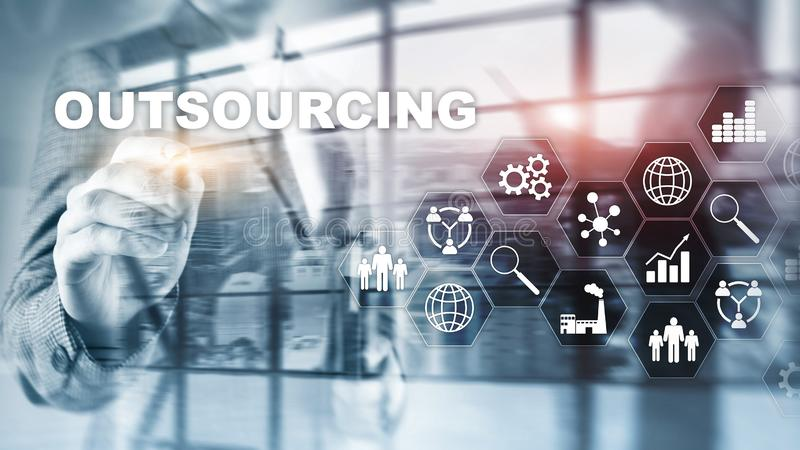 Outsourcing Human Resources. Global Business Industry Concept. Freelance Outsource International Partnership. Outsourcing Human Resources. Global Business stock photography