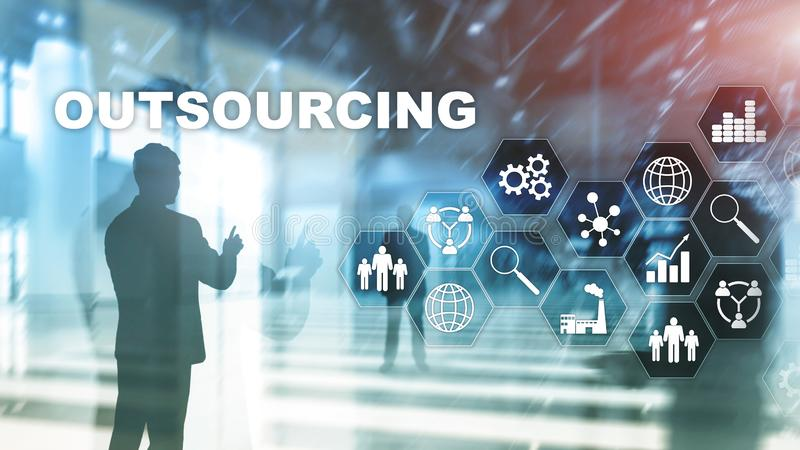 Outsourcing Human Resources. Global Business Industry Concept. Freelance Outsource International Partnership. Outsourcing Human Resources. Global Business royalty free stock photography