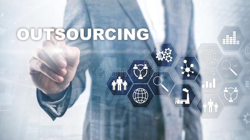 Outsourcing Human Resources. Global Business Industry Concept. Freelance Outsource International Partnership. Outsourcing Human Resources. Global Business stock image