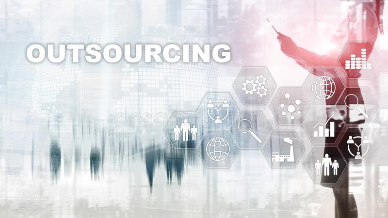 Outsourcing Human Resources. Global Business Industry Concept. Freelance Outsource International Partnership. royalty free stock photos