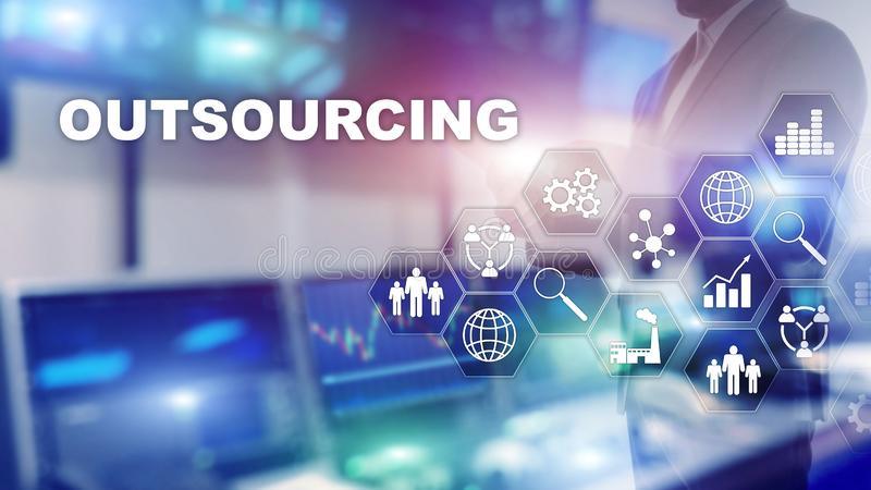 Outsourcing Human Resources. Global Business Industry Concept. Freelance Outsource International Partnership. Outsourcing Human Resources. Global Business royalty free stock images