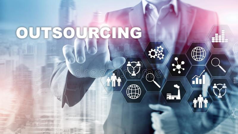 Outsourcing Human Resources. Global Business Industry Concept. Freelance Outsource International Partnership. Outsourcing Human Resources. Global Business stock photo