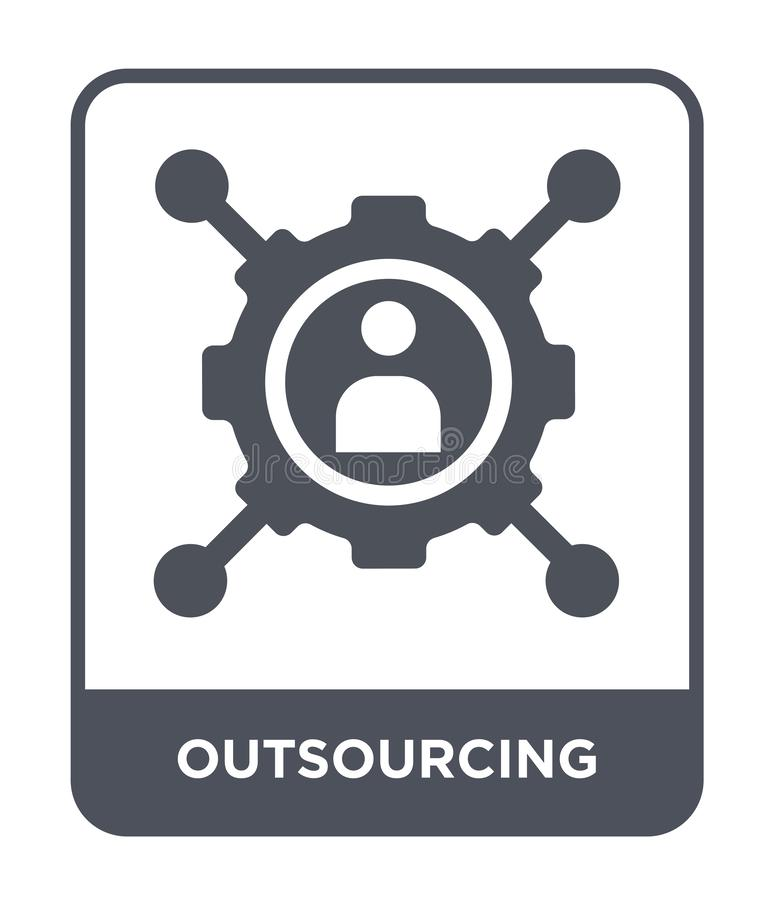 Outsourcing icon in trendy design style. outsourcing icon isolated on white background. outsourcing vector icon simple and modern. Flat symbol for web site stock illustration