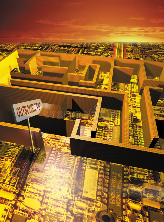 Outsourcing maze. 3D rendered conceptualization of Labyrinth focuses on outsourcing