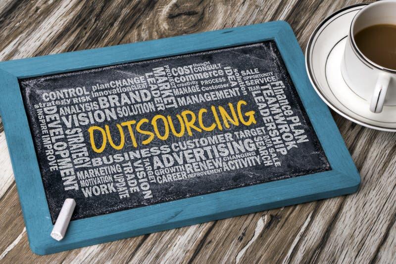 Outsourcing mit der in Verbindung stehenden Wortwolke handgeschrieben auf Tafel lizenzfreies stockfoto