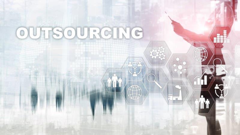 Outsourcing?w dzia? zasob?w ludzkich Globalnego biznesu przemys?u poj?cie Freelance Zleca? na zewn?trz Mi?dzynarodowego partnerst zdjęcia royalty free