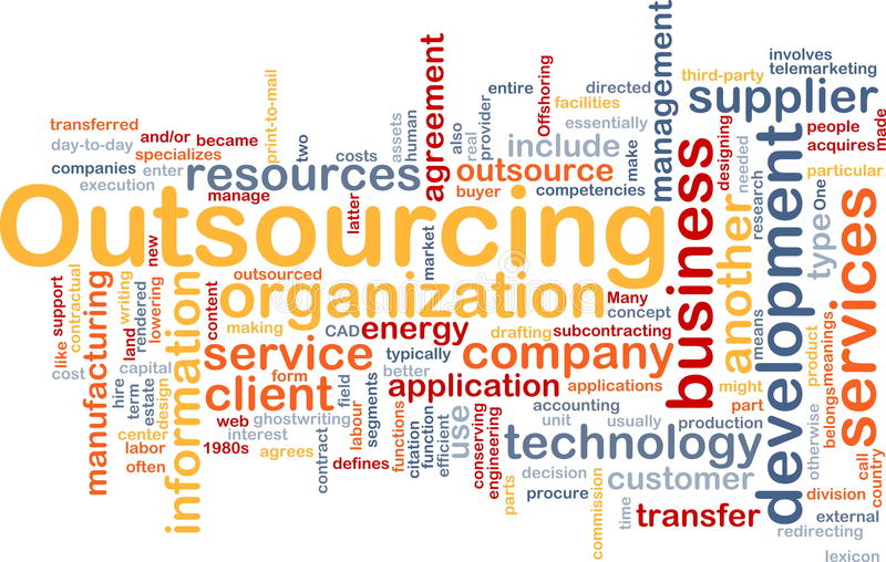 Outsourcing word cloud stock illustration