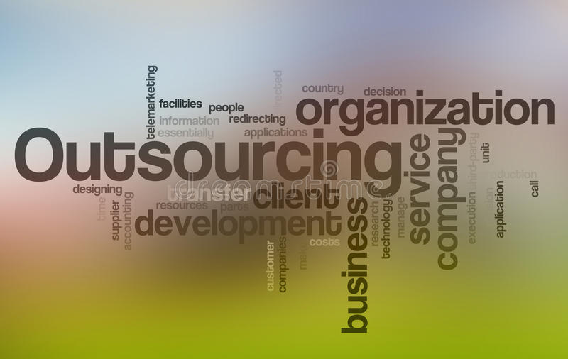Outsourcing Word Cloud. Word Cloud Illustration of Outsourcing