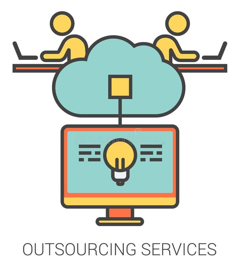 OutsourcingHausanschlussleitung Ikonen stock abbildung