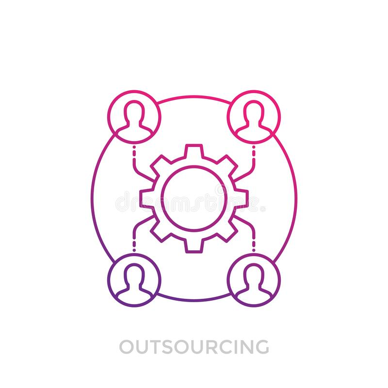 Outsourcingikone auf dem Weiß, linear stock abbildung