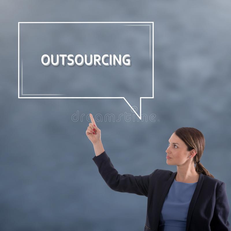 Outsourcingu biznesu pojęcie Biznesowej kobiety grafiki pojęcie fotografia royalty free