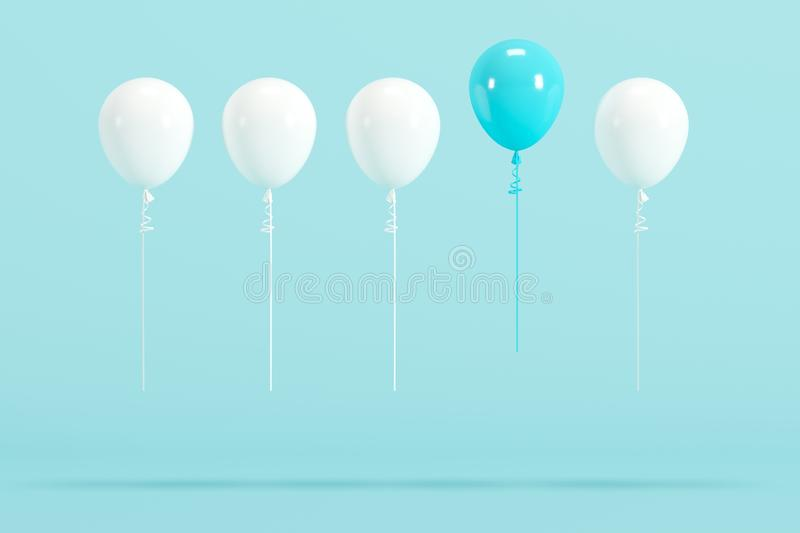 Outstanding blue balloon among white balloons on blue background for copy space. Minimal idea concept royalty free illustration