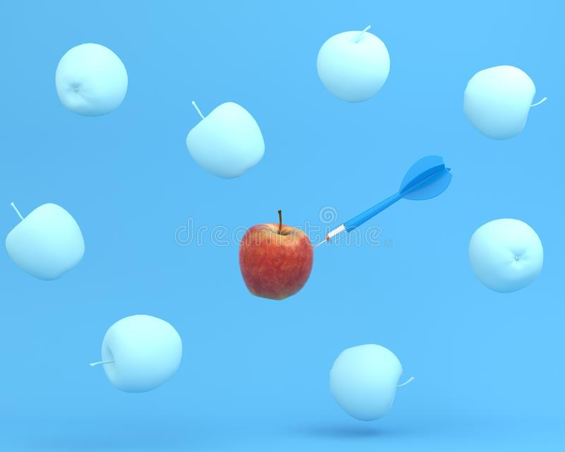 Outstanding blue dart in apple on blue color background. minimal. Idea food and fruit concept. An idea creative to produce work within an advertising marketing royalty free illustration