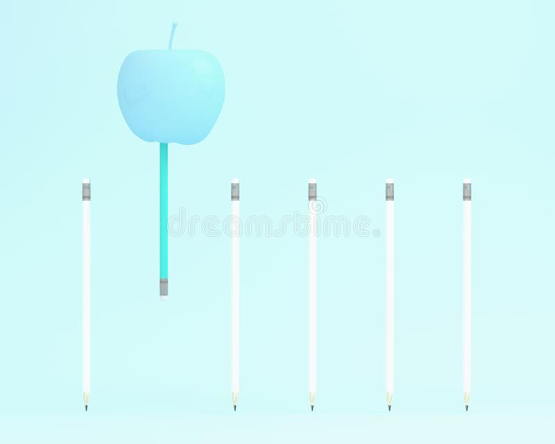 Outstanding blue pencil floating with apple on blue color background. minimal idea business concept. food ideas creatively to pro. Duce work within an royalty free illustration