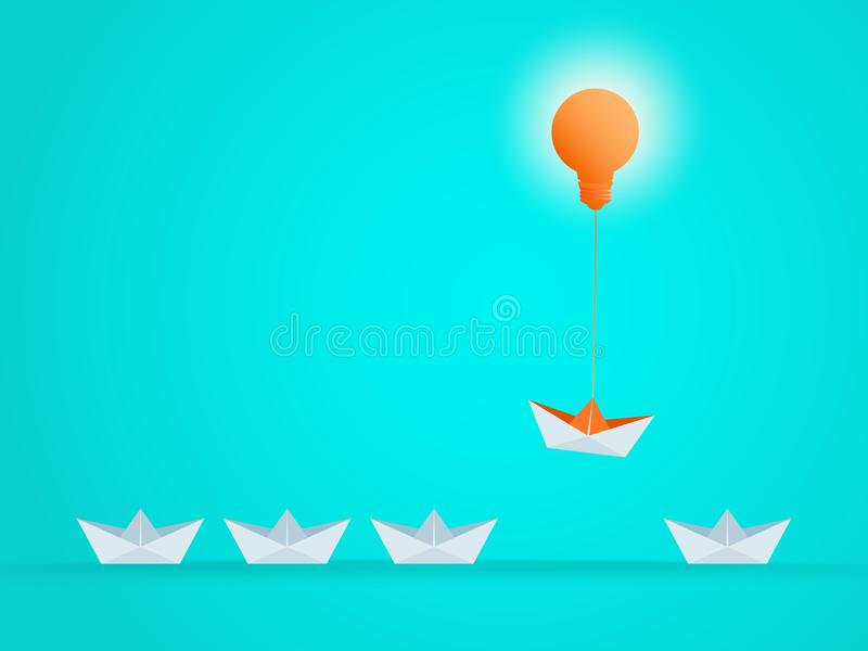 Outstanding the Boat rises above with light bulb idea. Business advantage opportunities stock illustration